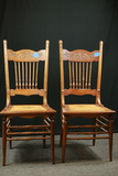 Pair Of Antique Oak Cane Bottom Chairs