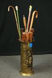 Brass Umbrella Stand With Canes & Umbrellas