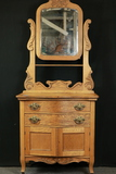 Victorian Oak Wash Stand With Towel Bar & Mirror