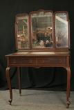 Walnut 1920's Vanity With Triple Mirror