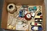 Box Of Assorted Cars, Bank, Knobs, Perfume Bottles, Etc.