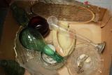 Box Of Assorted Glassware & 2 Old Coke Bottles