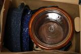 Box Of Graniteware, Pans, & Crock Pot