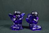 Pair Of Cobalt Glass Angels