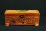 Wooden Box With Painted Scene On Top