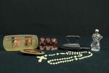 2 Civil War Bullets, Miniature Iron, Rosary, Belt Buckle, & 3 Small Monkets