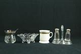 Glass Bowl, & Glass Salt/Pepper Shaker On Stand