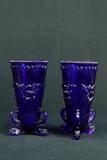 Pair Of Cobalt Footed Vases