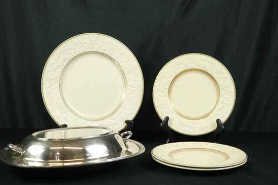4 Rhapsody Pattern George Jones Plates, Silver Plated Tray