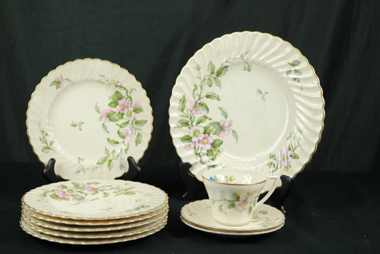 "10 Pieces of Syracuse China "" Apple Blossom"""
