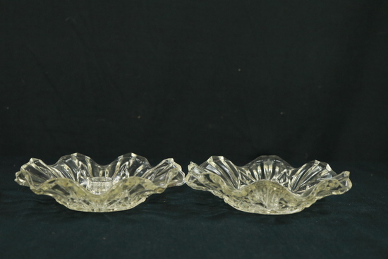 Pair Of Pressed Glass Candle Holders