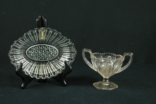 Double Handled Glass & Oval Plate