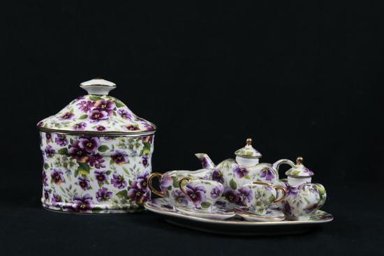 Miniature Tea Set & Covered Dish