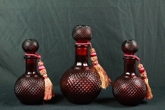 3 Red Glass Decanters