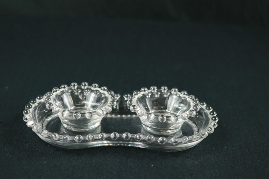 Pair Of Crystal Candlewick Condiment Bowls With Tray