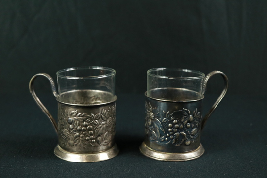 Pair Of Silver Plate Mugs With Glass Inserts
