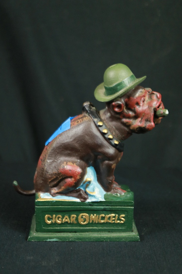 Cast Iron Cigar Dog Bank