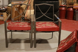 2 Metal Lawn Chairs With Cushions & Glass Top Table