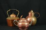 3 Copper Teapots