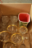 Box With Chipped Moser Stems & Assorted Glassware