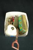 Box Of Costume Jewelry, Metal Child's Shovel, & Civil War Bullet