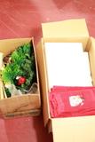Box Of Christmas Linens & Décor