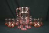 Pink Depression Glass Pitcher & 3 Glasses, And 6 Glasses
