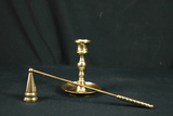 Brass Candle Stick & Candle Snuffer