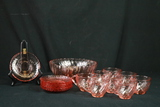 Pink Depression Glass Cups And Saucers, & Bowl