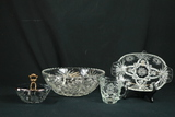 Pressed Glass Bowl, Divided Tray, Covered Dish, & Creamer