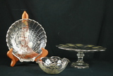 Silver Overlay Cake Stand, & 2 Silver Overlay Bowls