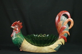 Wooden Rooster With Glass Bowl