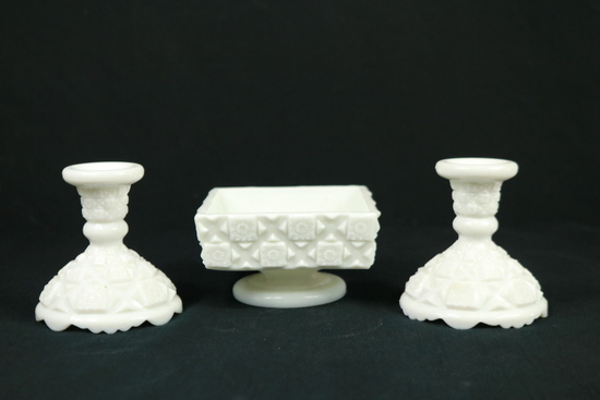 Westmoreland Milk Glass Candy Dish & Pair Of Milk Glass Candle Sticks
