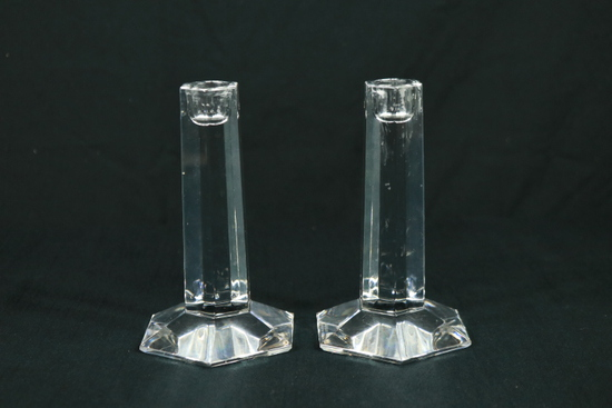 Pair Of Miller Rogaska Candle Sticks