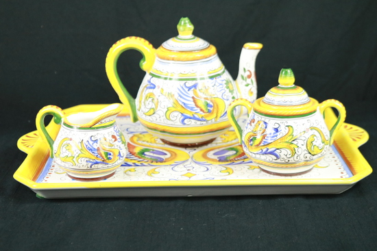 Hand Painted Canisters & Tea Set
