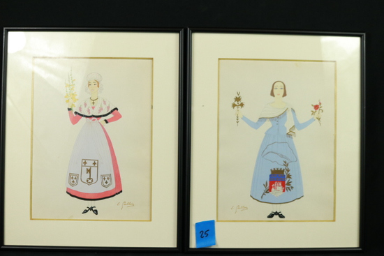 14 Signed Framed Colonial Style Prints