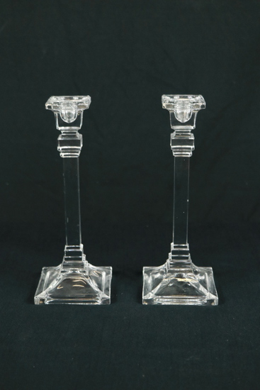 Pair Of Glass Candle Sticks