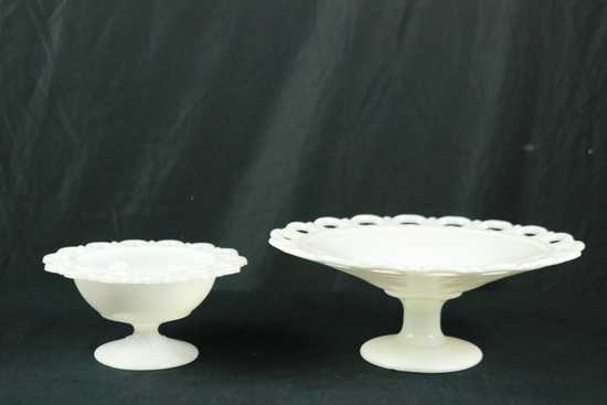 2 Footed Milkglass Round Stands