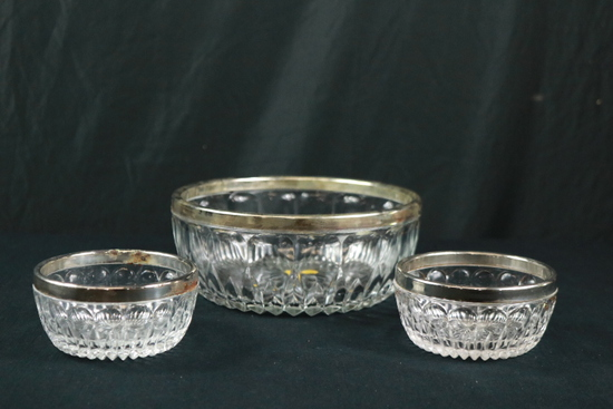 3 Crystal Bowls With Metal Rims