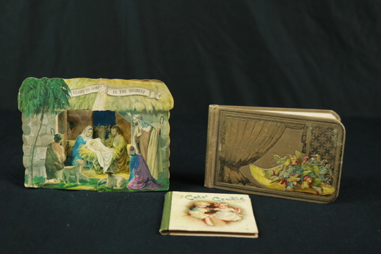 Pop Up Christmas Manger, 1 Small Book, & Antique Tablet