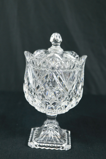 Crystal Covered Footed Dish