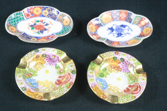 2 Oriental Ash Trays & 2 Oriental Plates