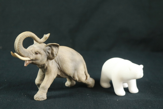 Elephant Figurine & Polar Bear Figurine