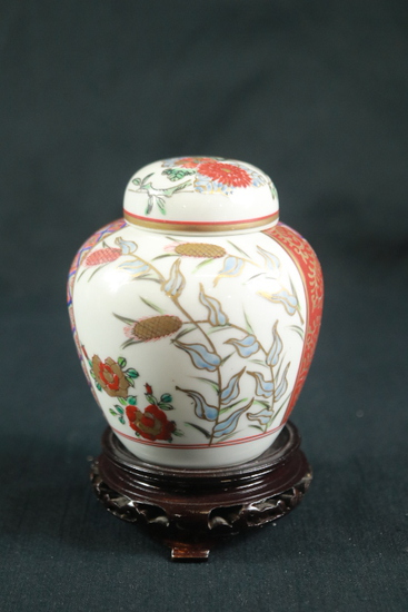 Asian Hand Painted Vase On Stand