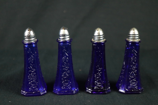 2 Pairs Of Blue Depression Glass Salt/Pepper Shakers