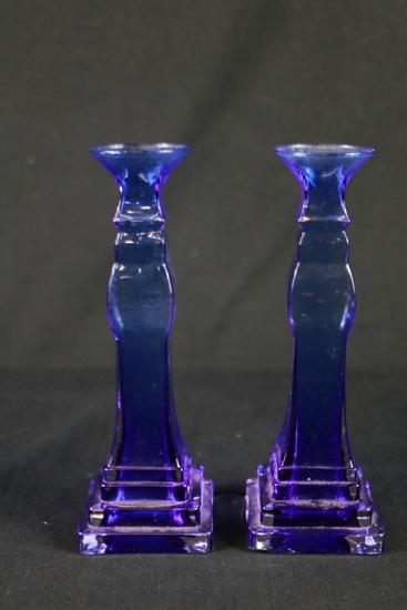 Pair Of Cobalt Blue Candle Sticks