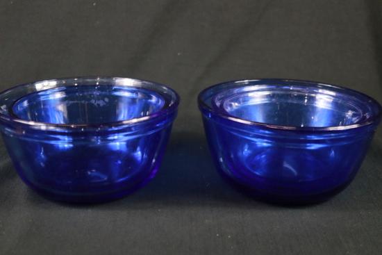 5 Cobalt Blue Assorted Bowls