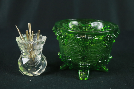 Pressed Glass Bowl & Toothpick Holder With Hors D'oeuvre Forks