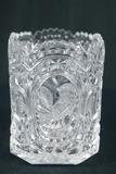 Blue Bird Pattern Pressed Glass Vase
