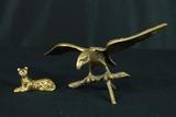 Brass Eagle & Brass Cat Name Card Holder